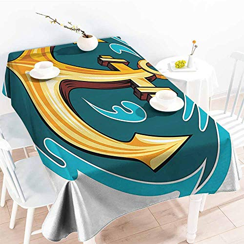 Homrkey Washable Table Cloth Anchor Decor Collection Vintage Anchor Pattern in Ocean Water Sailing Lifestyle Traveling Transportation Image Yellow Blue Party W50 xL80