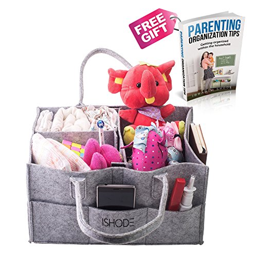 Deluxe Baby Diaper Bag Caddy Organizer By Ishode –Large Nursery Storage Basket W/ Removable Dividers For Diapers, Wipes, Burp Cloths, Pacifiers, Teethers, Toys & More – Great Baby Shower Idea