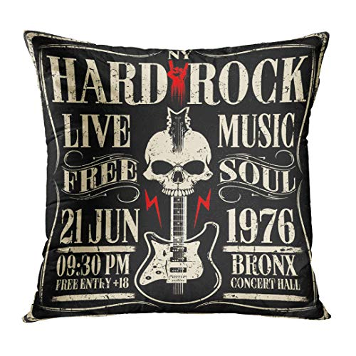 Pillow Band (Throw Pillow Cover Band Hard Rock Music Vintage Roll Festival Graphic Text Decorative Pillow Case Home Decor Square 20x20 Inches Pillowcase)