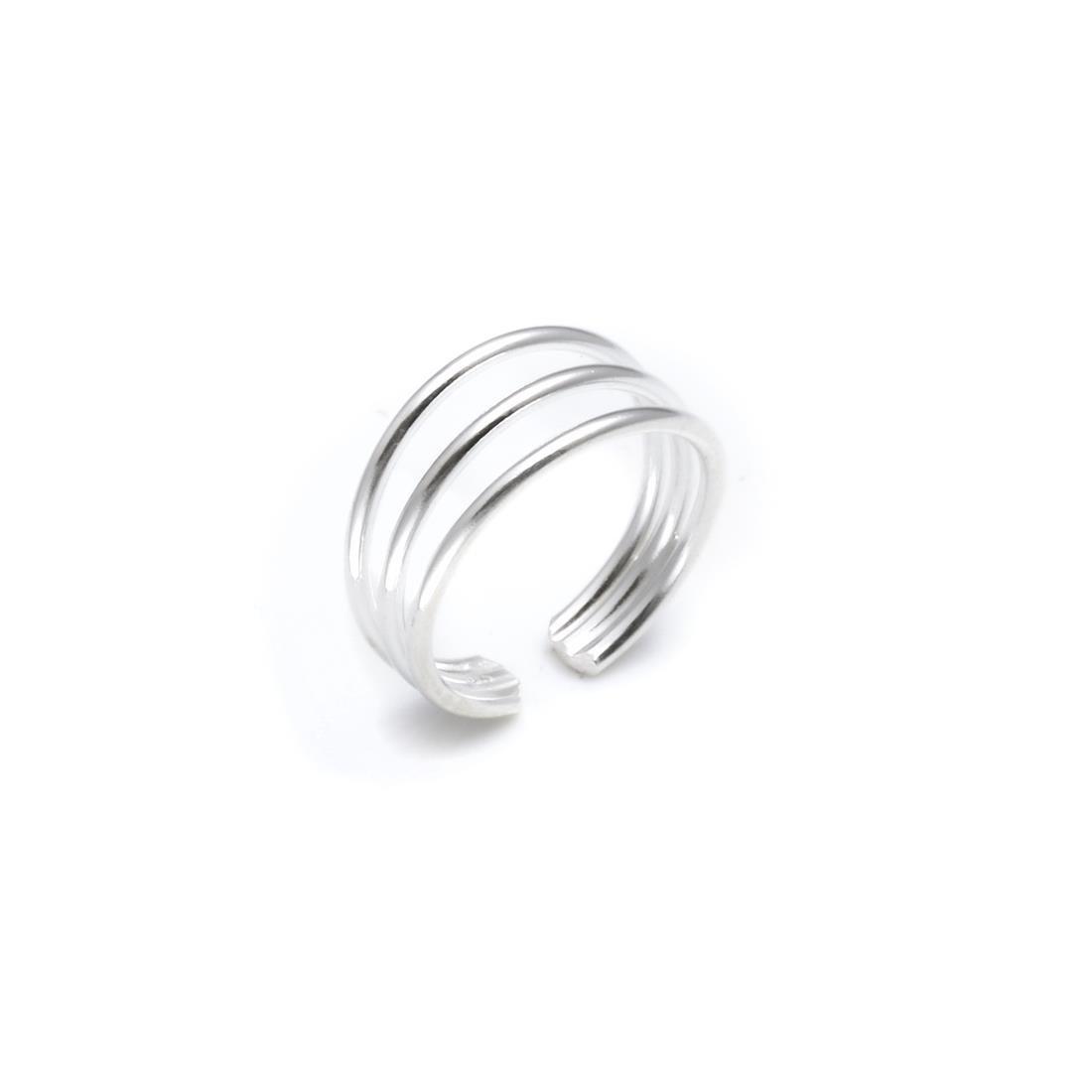 Silverly Argent 925 Bague d'Orteil Femme trois bandes réglables 01stSSR017