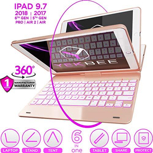 iPad Keyboard Case for iPad 2018 (6th Gen) - iPad 2017 (5th Gen) - iPad Pro 9.7 - iPad Air 2 & 1 - Thin & Light - 360 Rotatable - Wireless/BT - Backlit 10 Color - iPad Case with Keyboard (Rose)