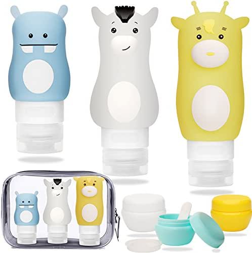 Travel Bottles Set,Portable Leakproof Cosmetic Silicone Containers Refillable for Conditioner Lotion Body Wash Sunscreen Toiletries TSA Approved Travel bag Cream Jar Included