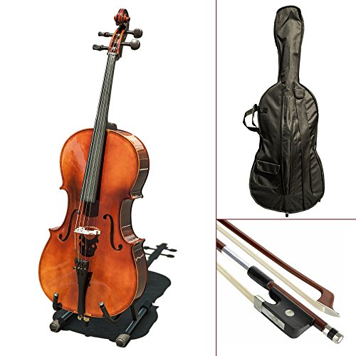 Paititi CE4009SE AVANT-GARDE Ebony Fitted Glossy Finish Solid Wood Cello with Soft Case, Brazilwood Bow, Rosin and Stopper (4/4) by Paititi