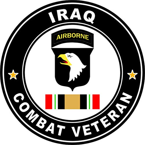 Military Vet Shop US Army 101st Airborne Iraq Combat Veteran Operation Iraqi Freedom OIF Window Bumper Sticker Decal 3.8