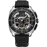 JEDIR Men's Multifunction Watches Analogue Chronograph Quartz Sport Watch Display Date Silicone Strap (Silver)