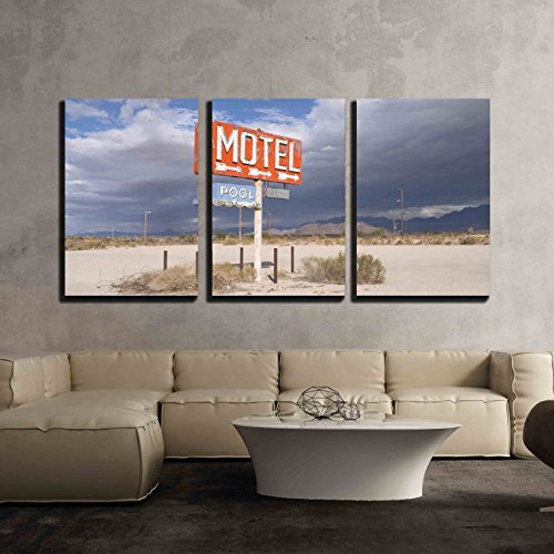- wall26 - 3 Piece Canvas Wall Art - an Old Neon Sign Points to a Motel Complex That Was Never Built. - Modern Home Decor Stretched and Framed Ready to Hang - 24