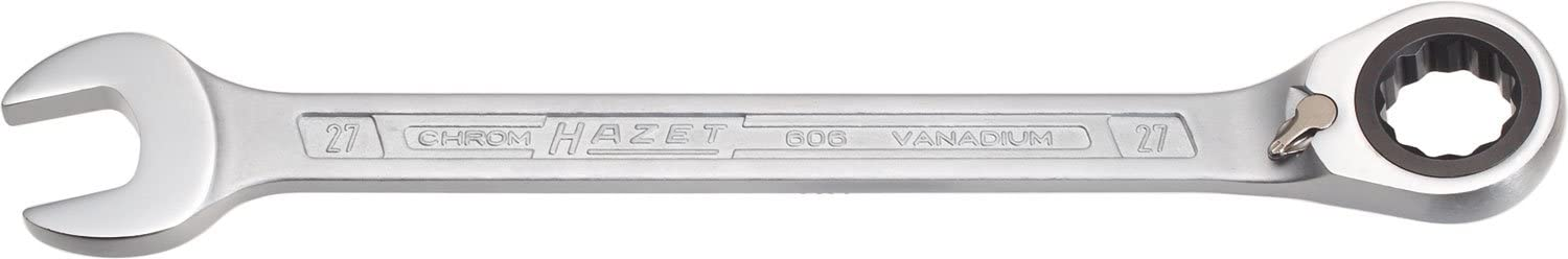 Silver Hazet 17 mm Ratcheting Combination Wrench Reversible