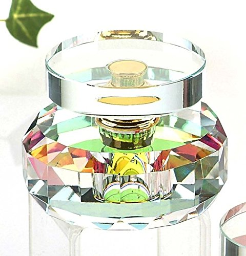 StealStreet CC-065AB Clear K9 Crystal Perfume Bottle with Circle Disk Top Fragrance Decor