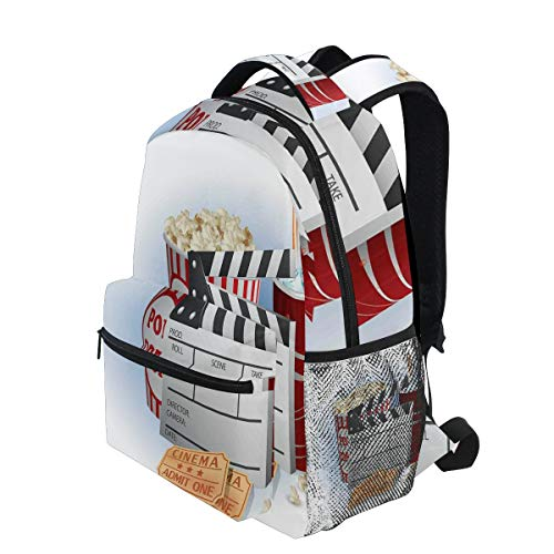 - KVMV Soda Tickets Fresh Popcorn and Clapper Board Blockbuster Premiere Cinema Lightweight School Backpack Students College Bag Travel Hiking Camping Bags