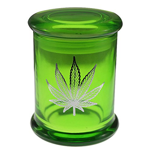 Marijuana Pot Leaf Stash Jar 420 Airtight Pop Top Glass Smellproof Medical Flower Storage