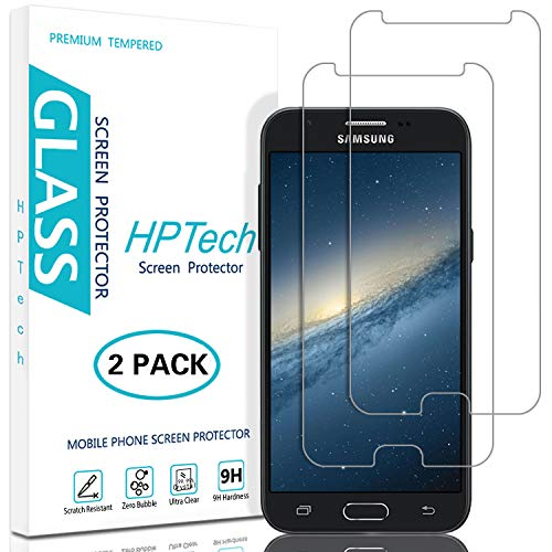 HPTech Screen Protector for Galaxy J3 2017, J3 Luna Pro, J3 Prime, J3 Mission, J3 Emerge, J3 Eclipse (2-Pack) Tempered Glass Film with Lifetime Replacement Warranty