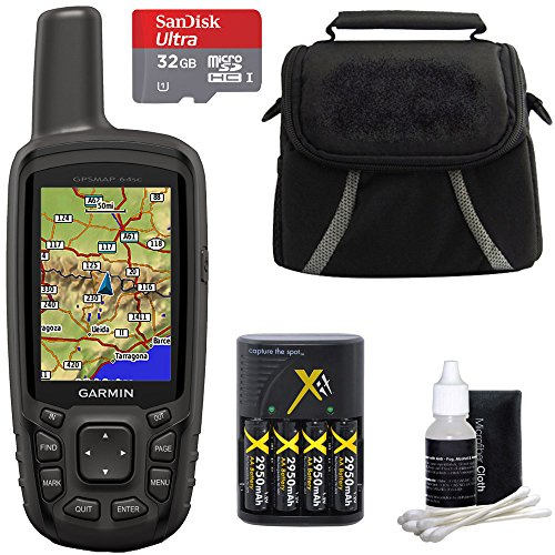 Garmin GPSMAP 64sc Handheld GPS - 1 Year BirdsEye 010-01199-30 w/ 32GB Micro SD Bundle