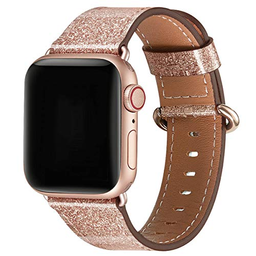 WFEAGL Compatible iWatch Band 42mm 44mm, Top Grain Leather Band with RoseGold Adapter(The Same as Series 4/3 with Gold Aluminum Case in Color)for iWatch Series 4/3/2/1 (RoseGold Band+RoseGold Adapter)
