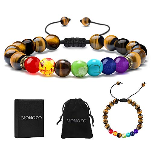 (MONOZO Chakra Beads Bracelet - 7 Chakra 8mm Natural Tiger Eye Stone Anxiety Bracelet Yoga Gemstone Beads Stress Relief Men Women Bracelets Bangle)