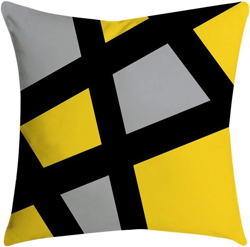 DEELIN 6 PC Taie d'oreiller Canapé Coussin Carré De Mode Simple Géométrie Créative Motif Décor À La Maison Coussin Couverture Cas Taie d'oreiller Noir
