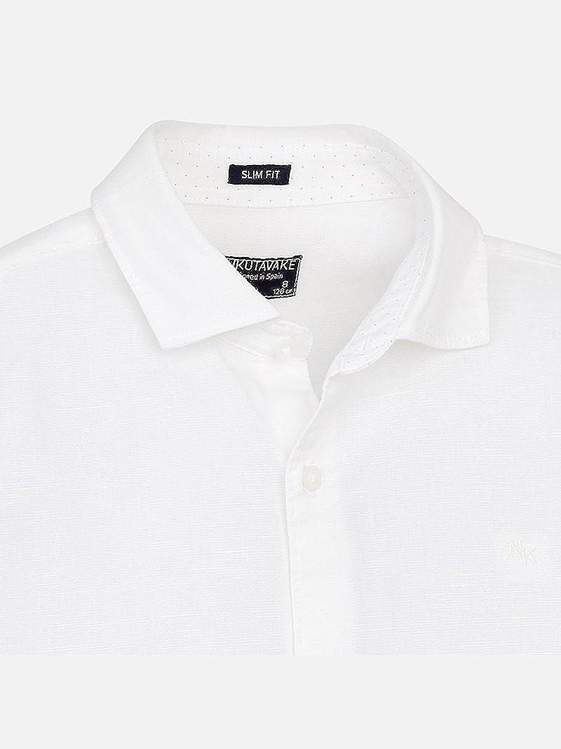 0872 Mayoral Basic Linen l//s Shirt for Boys White