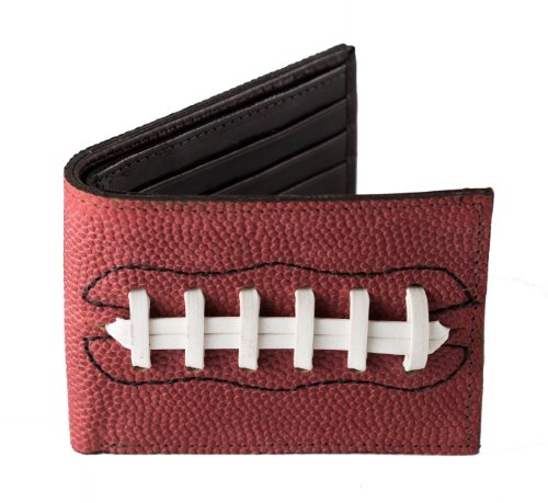 Genuine Football Leather Mens Bifold Sports Wallet with White Laces