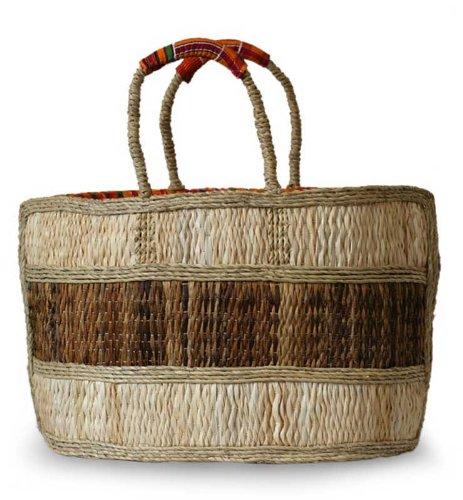 NOVICA Beige Natural Fiber Handbag, 'African Charm' by NOVICA