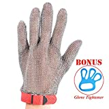 Stainless Steel Mesh Cut-resistant Glove - Chain Mail Glove for Hand Protective, Safety Glove for Home Kitchen, Butcher, Oyster, Garment. Fish Worker (Medium)