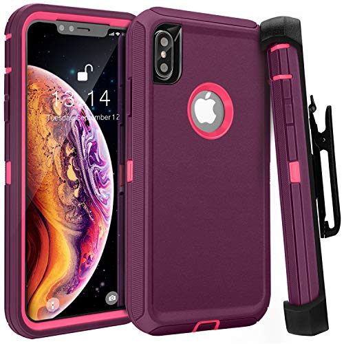iPhone Xs Max Case,FOGEEK Belt Clip Holster Heavy Duty Kickstand Cover [Support Wireless Charging] [Dust-Proof] [Shockproof] Compatible for Apple iPhone Xs Max [6.5 inch] (Wine red/Rose)