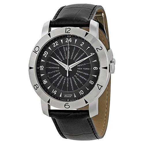 Tissot Heritage Navigator Black Dial Black Leather Mens Watch T0786411605700