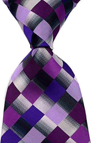 Scott Alone : New Classic Checks Jacquard Woven Silk Men's Tie Necktie (Purple)