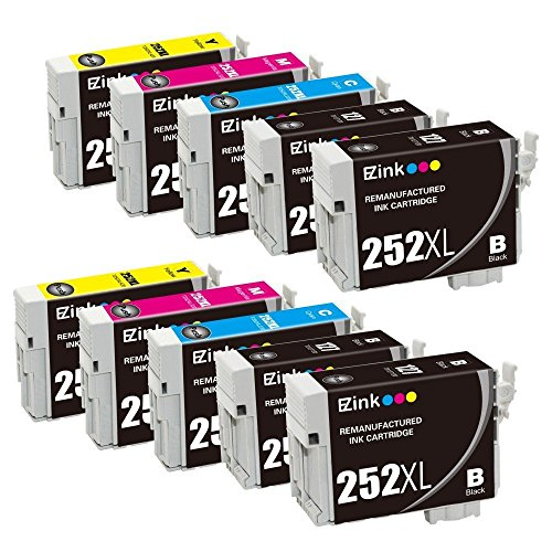 Capacity Remanufactured Ink - E-Z Ink Remanufactured Ink Cartridge Replacement for Epson 252XL High Capacity, 4 Black, 2 Cyan, 2 Magenta, 2 Yellow