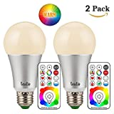Pack of 2 RGBWW 10W LED BULB #2-in-1# E26 Base A19 LED Bulb, RGB multicolor + Warm White, 10W (60W Equiv.) 900 lumens Dimmable with Remote Control RGBWW 2800K Color Bulb Review