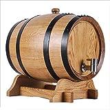 GX Multifunctional wine barrel Wine Barrel of Oak, 5L-10L White wine Barrel of red Wine Home Decoration Barrel of wine Barrel of Beer Wood Color (Size : 10L)