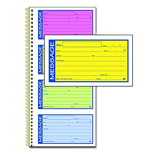 Message Notepads (TOPS Spiral Telephone Message Book, 200 Carbonless Duplicate Sets Per Book, 5.25 x 2.75 Inches, Assorted Colors (SC1153RB))