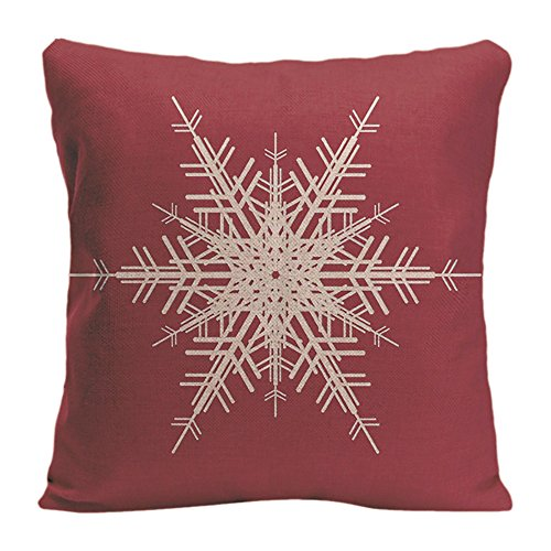 LDJ Cotton Polyester Chair Seat Square Throw Pillow Case Decorative Cushion Cover Pillowcase Design With Snowflake Holiday In Red Custom Pillow Print Double Side Size 20x20 Inches - Snowflake Embroidered Sheet Sets