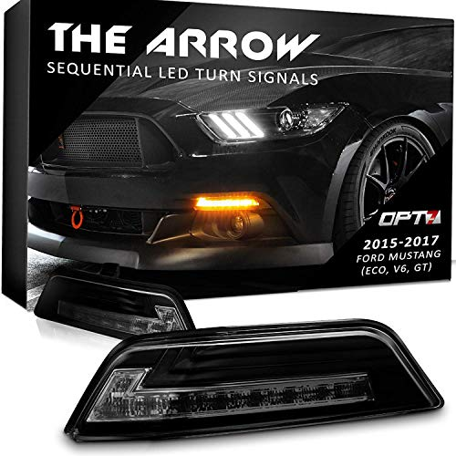 OPT7 Arrow Sequential Mustang LED Front Turn Signal Pair w/Switchback DRL for 15-17 - White Amber Light Left Right [Smoked]