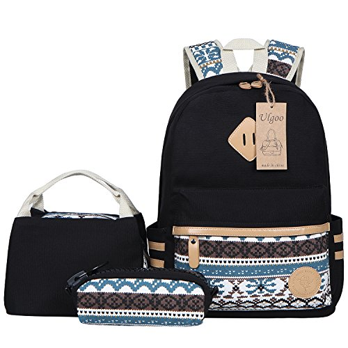 Ulgoo Canvas Casual School Backpacks Teen Girls Bookbags Shoulder Bags