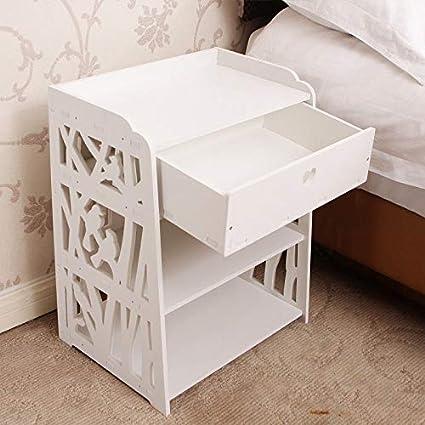 Xzr Table De Chevet Blanc Sculptée Table De Nuit Meuble De Rangement 2 étagère Tiroir Plastique Chambre Oiseau