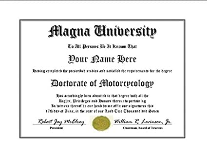 Amazon.com: Magna University Degree – Custom Novelty Diploma Fake ...