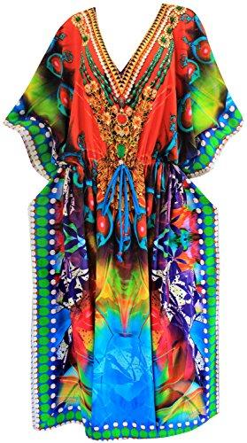 La Leela Women's Casual Dress Caftan Maxi Loose Dress Digital Multi DRT098 US: - Per Sol