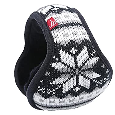 Mraw Unisex Woolen Yarn Big Snowflake Pattern Foldable/Adjustable Wrap around Earmuffs (Black)