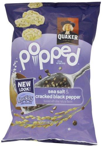 Quaker, Quakes Rice Snacks, Sea Salt and Cracked Black Pepper, 6 oz. (Pack of 4) by Quakes