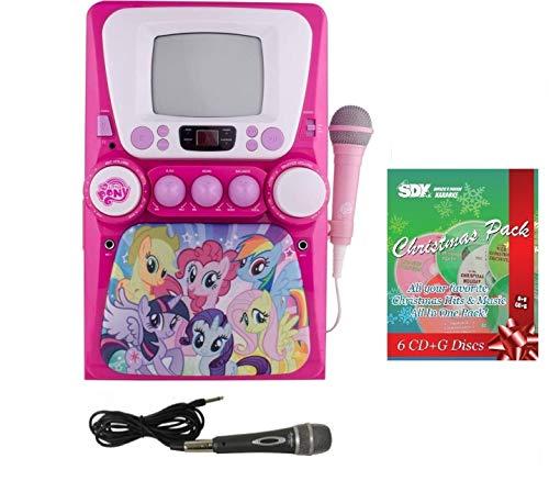(Sakar My Little Pony 69157 CD/CDG Karaoke Machine Bundle with 6 CDG Christmas Pack & 2 Mics )