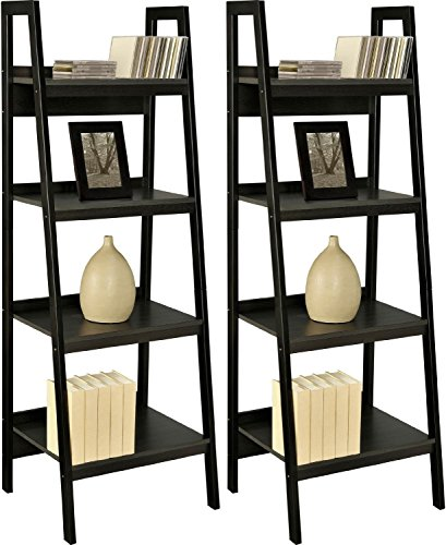 go2buy Pair of 4 Shelf Black Leaning Ladder Shelf Bookcase/Bookshelf Metal Corner Shelves Unit - Slanted Shelving Unit