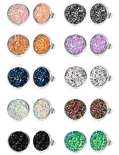 FUNRUN JEWELRY 10 Pairs Druzy Stud Earrings Set for Girls Women Hypoallergenic Round Earrings Pierced (B: 10 Pairs Silver Tone) ()