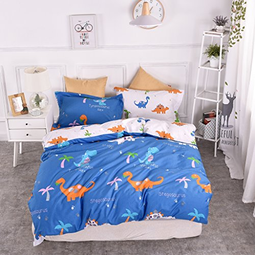 Organic Twin Bedding - Chesterch Prevoster Kids Duvet Cover Set 100% Organic Cotton,Cartoon Dinosaur Blue Cute Bedding Boys Reversible Comfortable,3 Pieces Comforter Cover and 2 Pillowcases,Twin Size