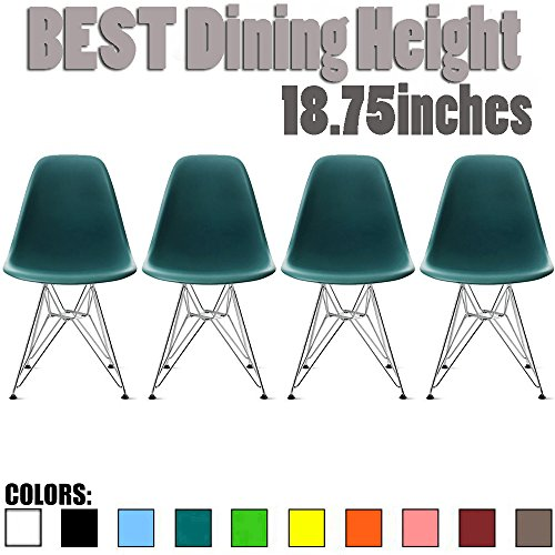 2xhome Set of Four (4) - Plastic Side Chair Chromed Wire Legs Eiffel Legs Dining Room Chair - Lounge Chair No Arm Arms Armless Less Chairs Seats Wire Leg (Teal)