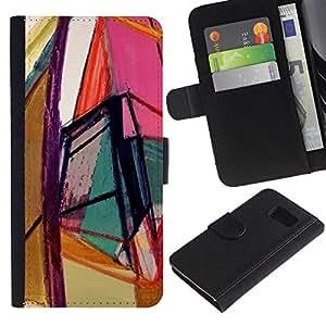 Billetera de Cuero Caso Titular de la tarjeta Carcasa Funda para Samsung Galaxy S6 SM-G920 / Art Bright Colors Geometry / STRONG