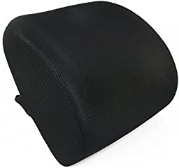 Lumbar Support, FitPlus Premium Deluxe Lumbar Support Cushion Memory Foam! - With 3D mesh Cover For Home Office Or Car Seat Cushion (Black)