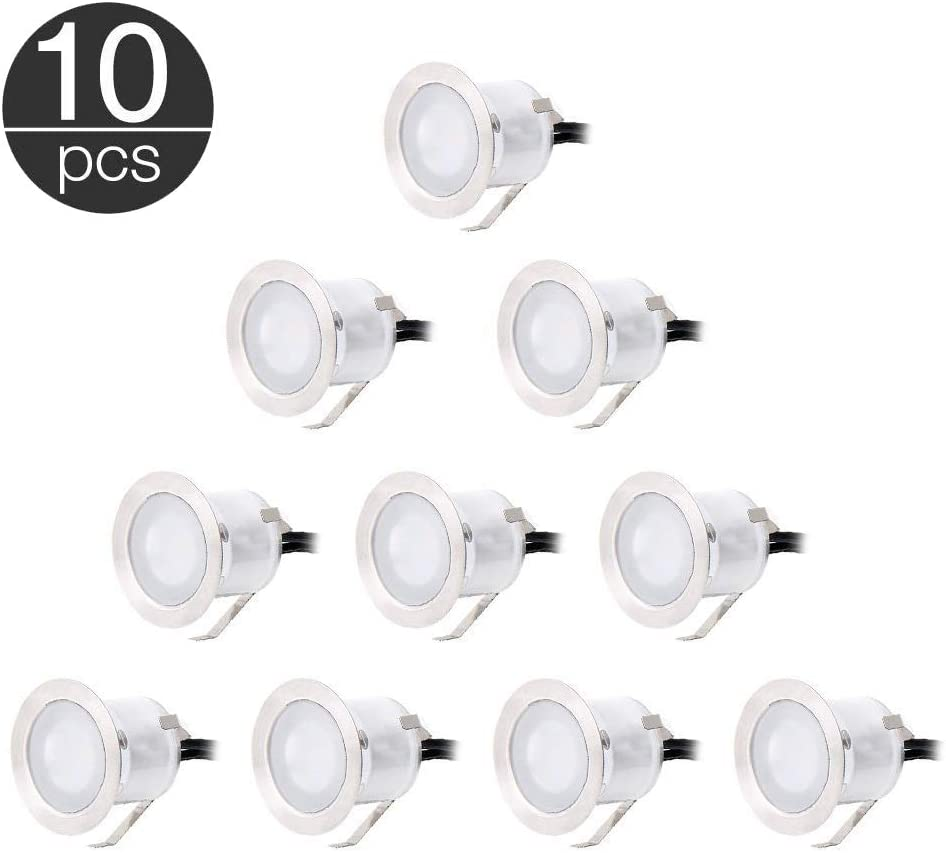 Lixada LED Deck Lights Kit - 10 Pack White Recessed Deck Lighting, High Bright in Ground Outdoor Landscape Decorations Light for Stair Step Garden Patio Yard Wood Floor, Waterproof IP67, 12V Safe