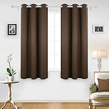 Deconovo Room Darkening Thermal Insulated Blackout Grommet Window Curtain for Living Room, Brown,42x63-inch,1 Panel