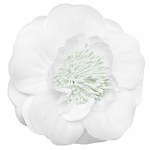 2Bunnies Girl Baby Girl Large Petunia Flower Hair Clip Pin Brooch (White Large Peony, One Size)