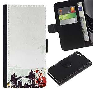 KingStore / Leather Etui en cuir / Apple Iphone 5 / 5S / Arte del puente de Brooklyn de Nueva York Estados unidos