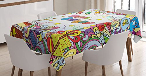 Ambesonne Birthday Decorations Tablecloth, Greeting Card Inspired Artwork Colorful Cartoon Style Festive Party, Dining Room Kitchen Rectangular Table Cover, 60 W X 90 L Inches, Pale Rainbow